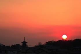 法隆寺の落陽